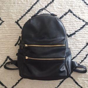 Vegan Black Leather Backpack